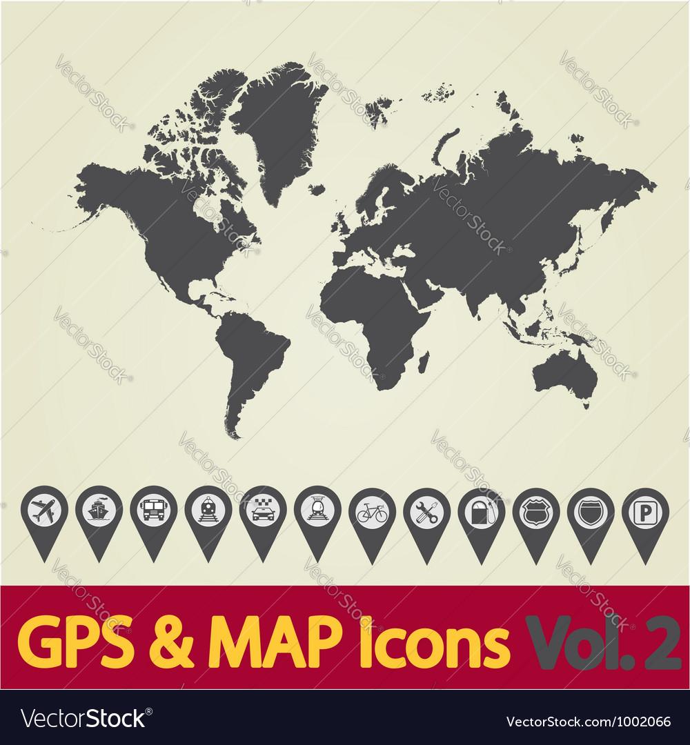 World map icon 2 vector | Price: 1 Credit (USD $1)