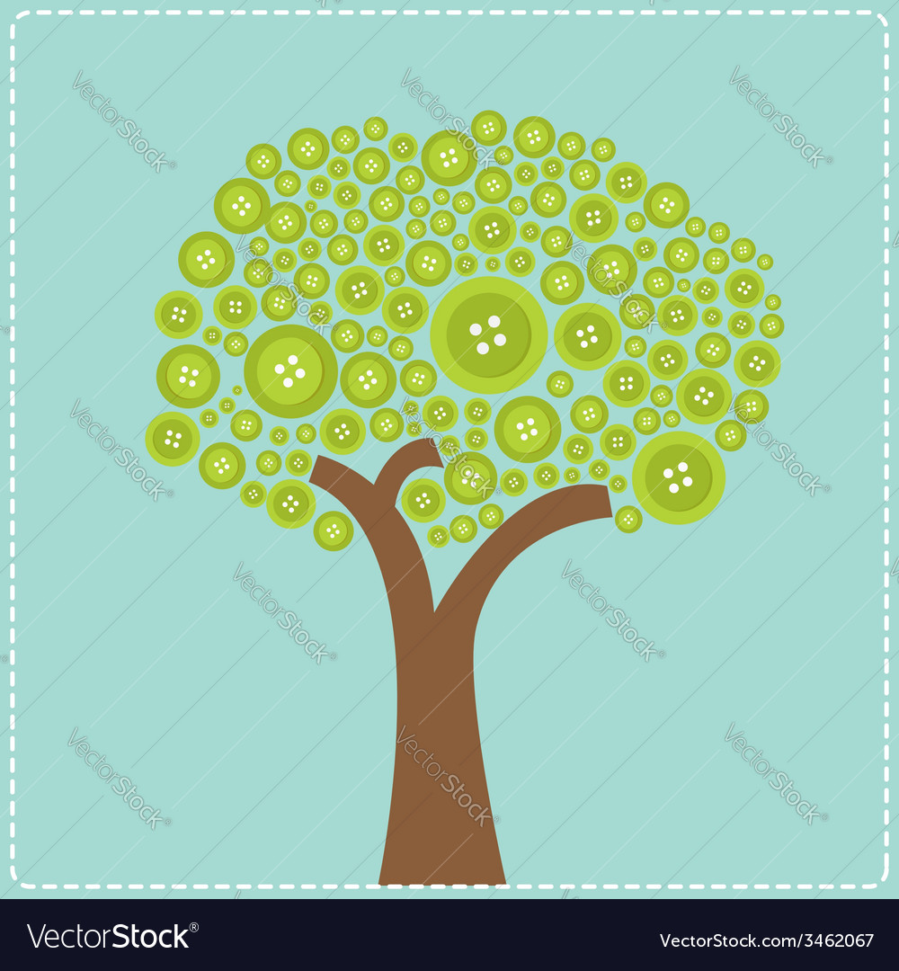 Big green button tree flat design vector | Price: 1 Credit (USD $1)