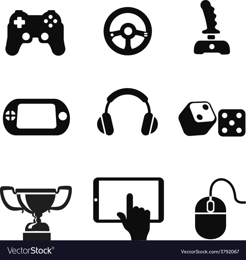 Black game icons set white background vector | Price: 1 Credit (USD $1)