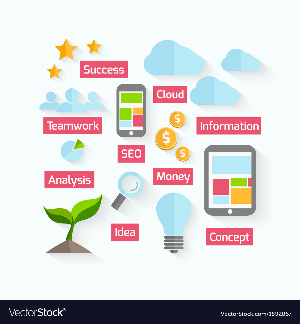 Business process design in flat style vector   Price: 1 Credit (USD $1)