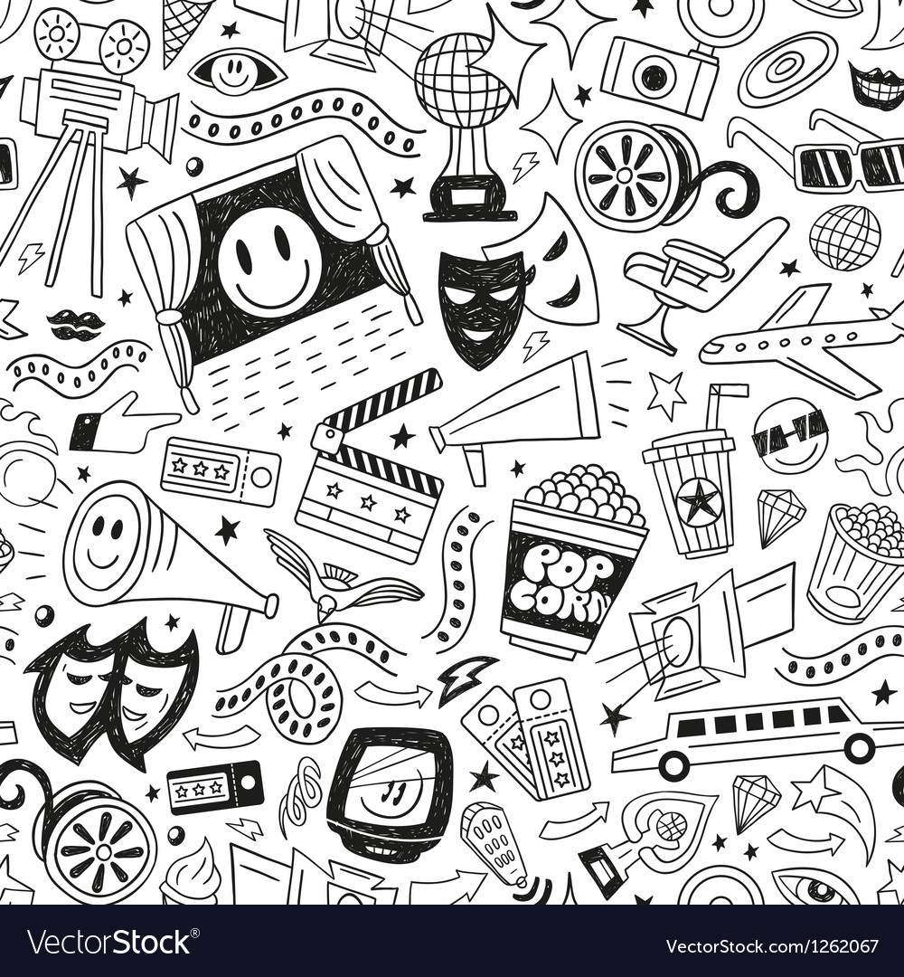 Cinema seamless pattern vector | Price: 1 Credit (USD $1)