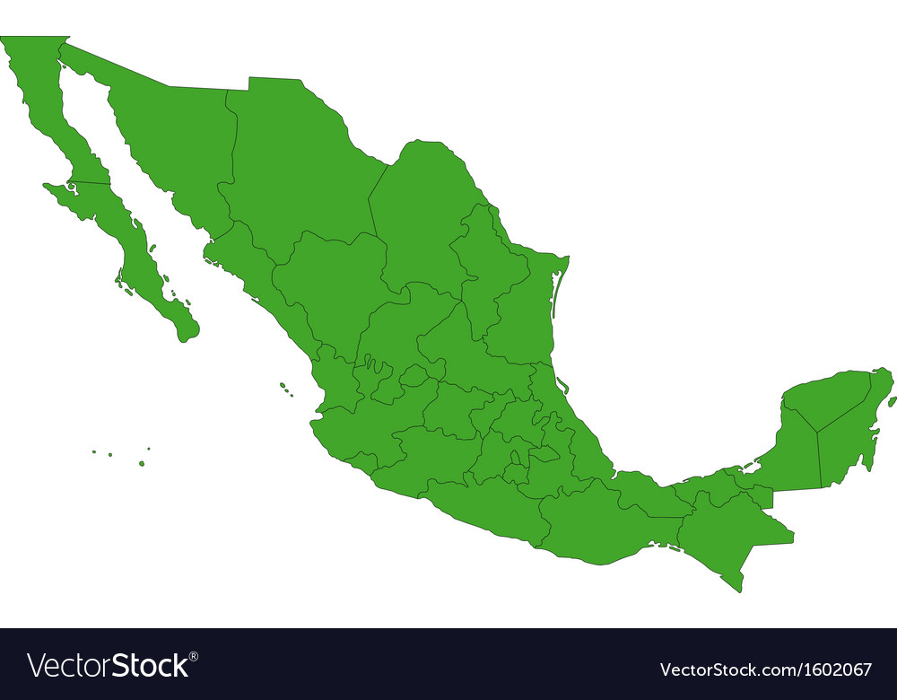 Green mexico map vector | Price: 1 Credit (USD $1)