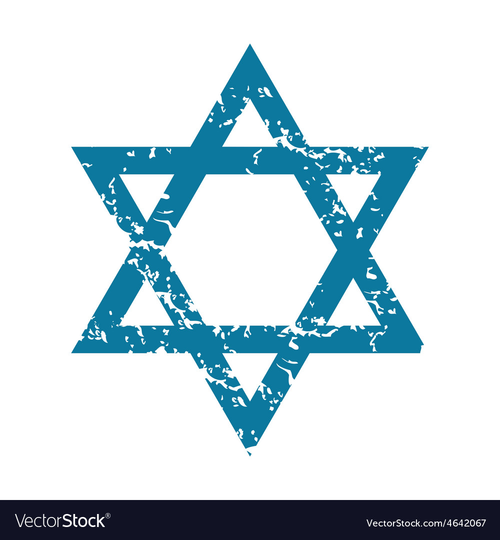 Grunge star of david icon vector