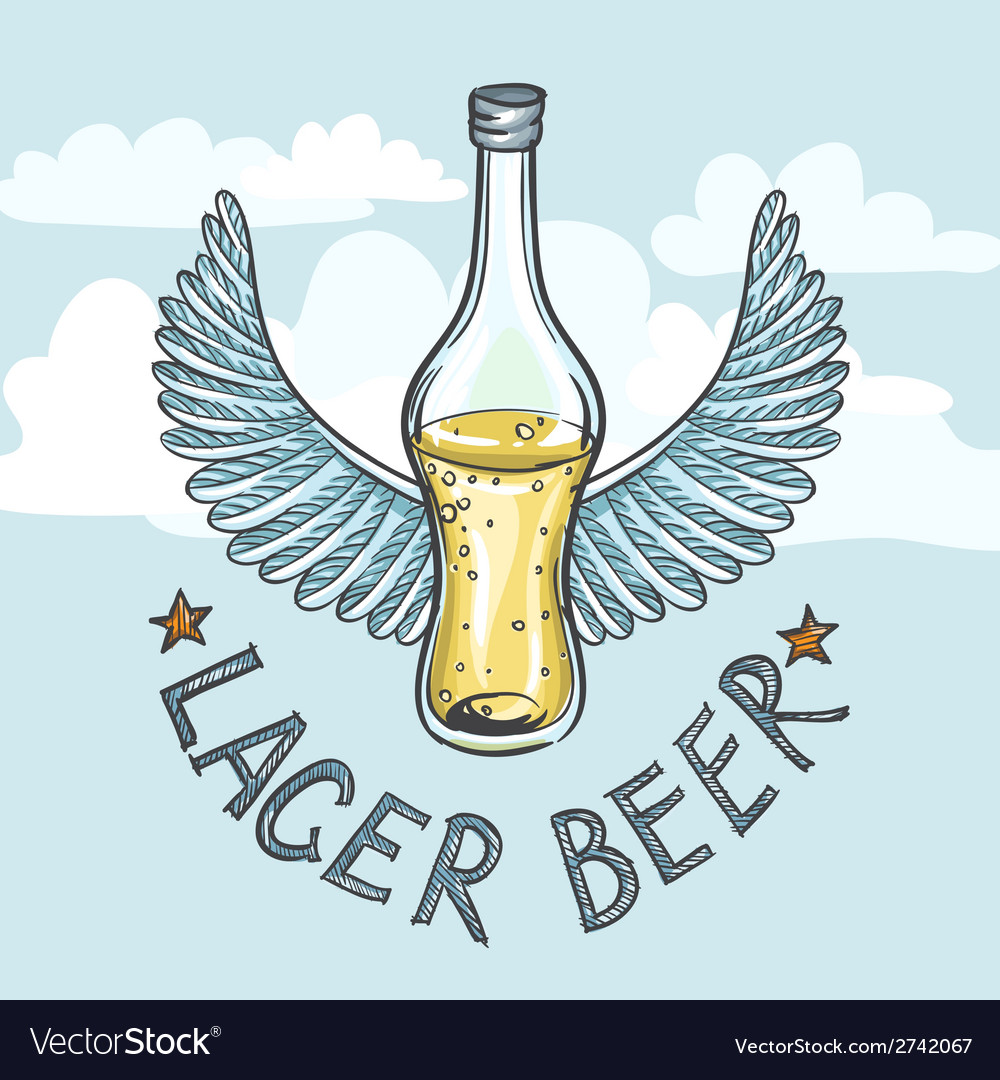 Lager beer on sky background vector | Price: 1 Credit (USD $1)