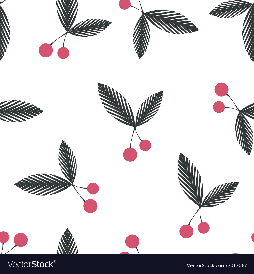 Seamless floral berry cherry pattern on white vector | Price: 1 Credit (USD $1)