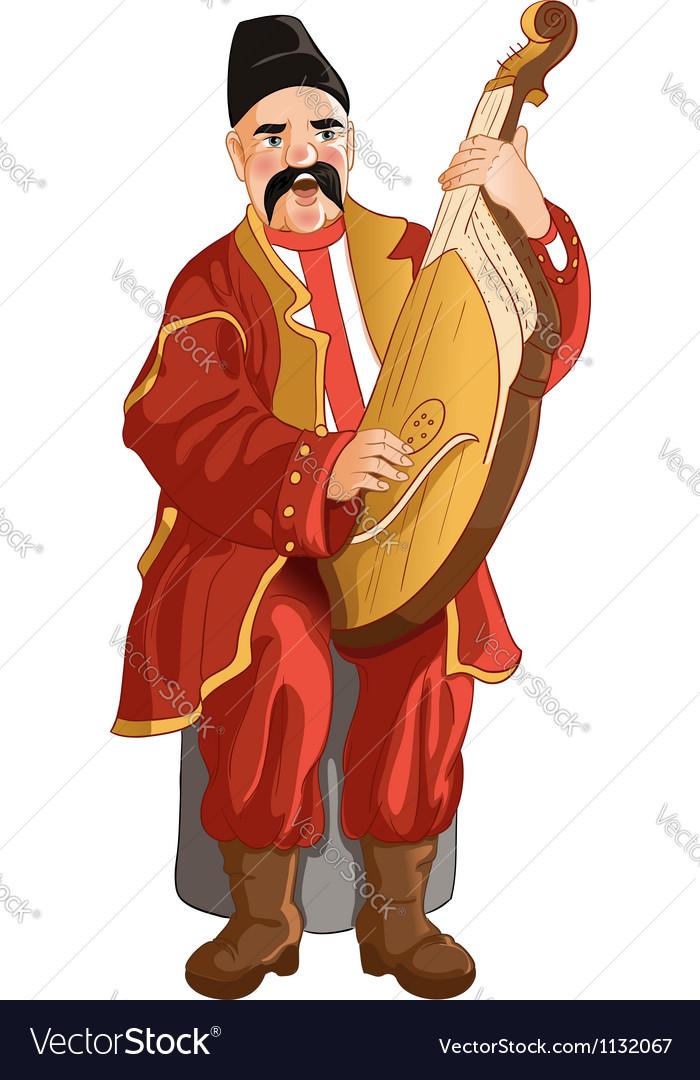 Senior ukrainian musician with bandura vector | Price: 1 Credit (USD $1)