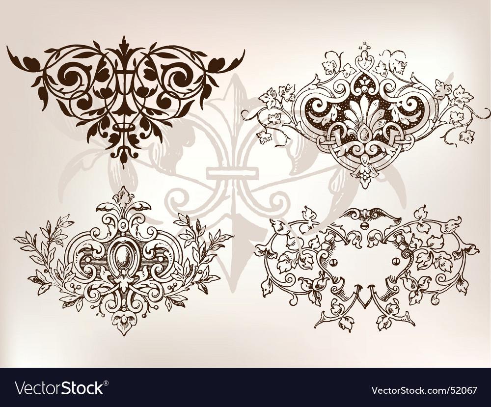 Set of vintage design elements vector | Price: 1 Credit (USD $1)