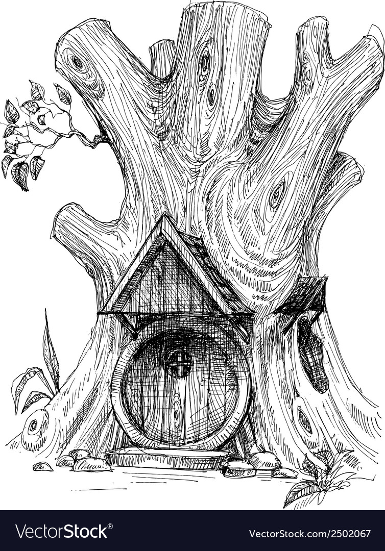 Small house in tree hollow sketch vector | Price: 1 Credit (USD $1)