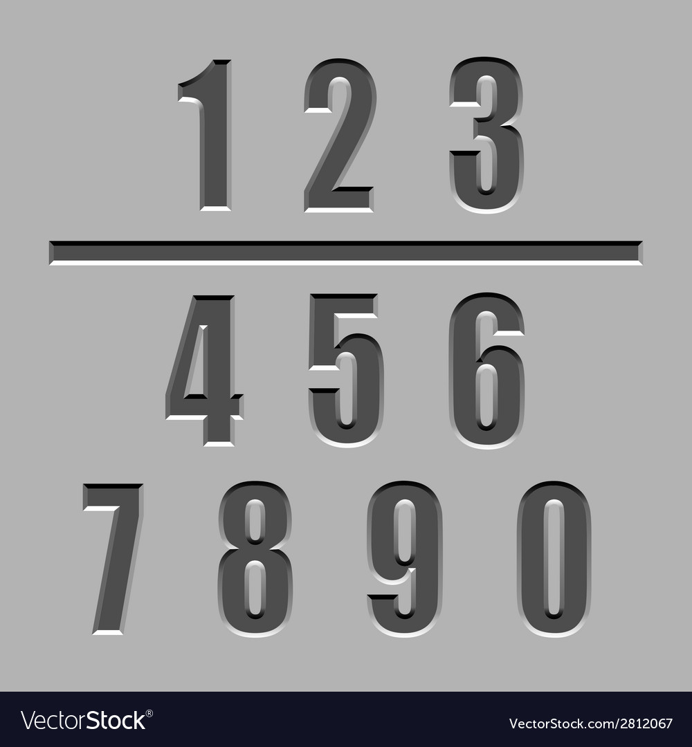 Stone carved numbers font vector | Price: 1 Credit (USD $1)
