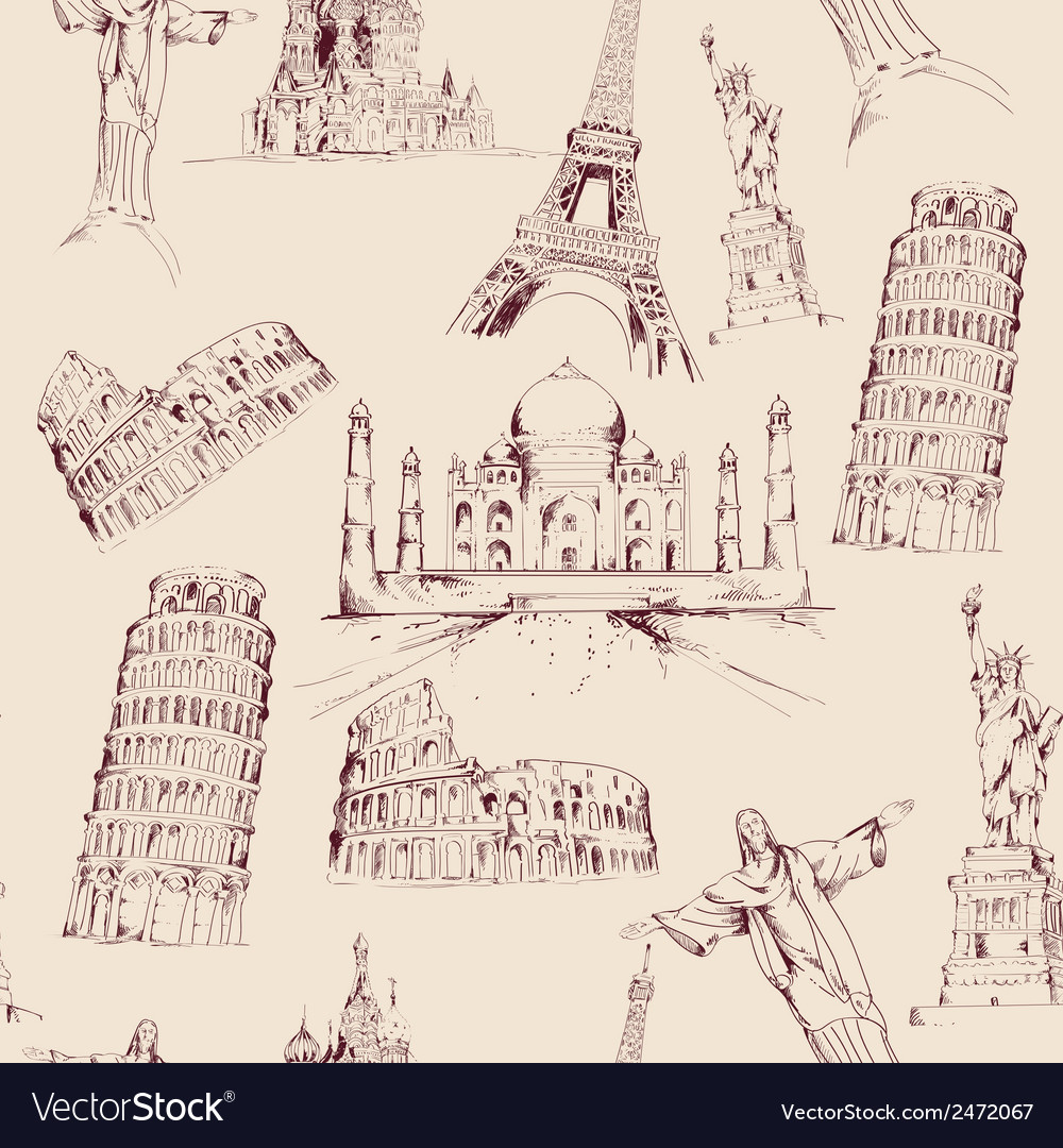 World landmark seamless pattern vector | Price: 1 Credit (USD $1)
