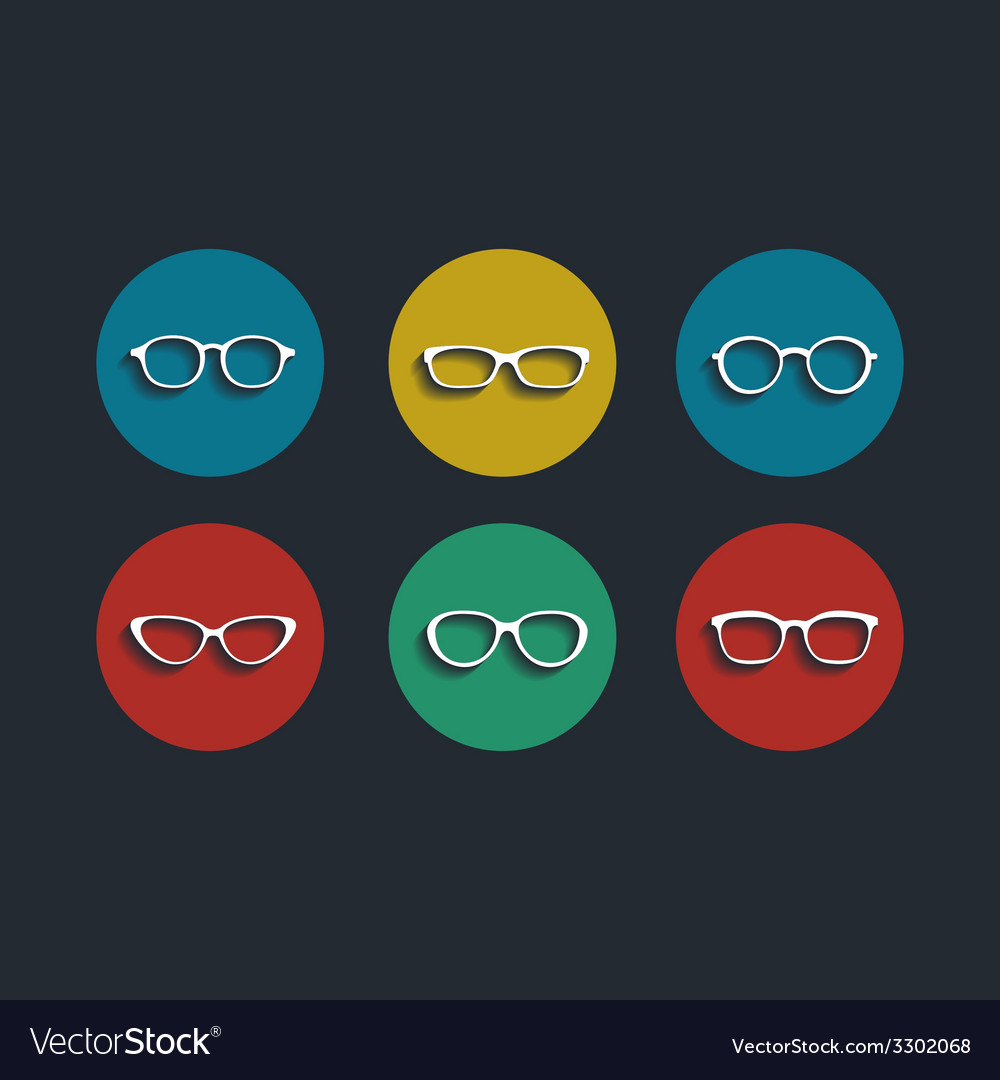 Black glasses icons set on white background vector | Price: 1 Credit (USD $1)