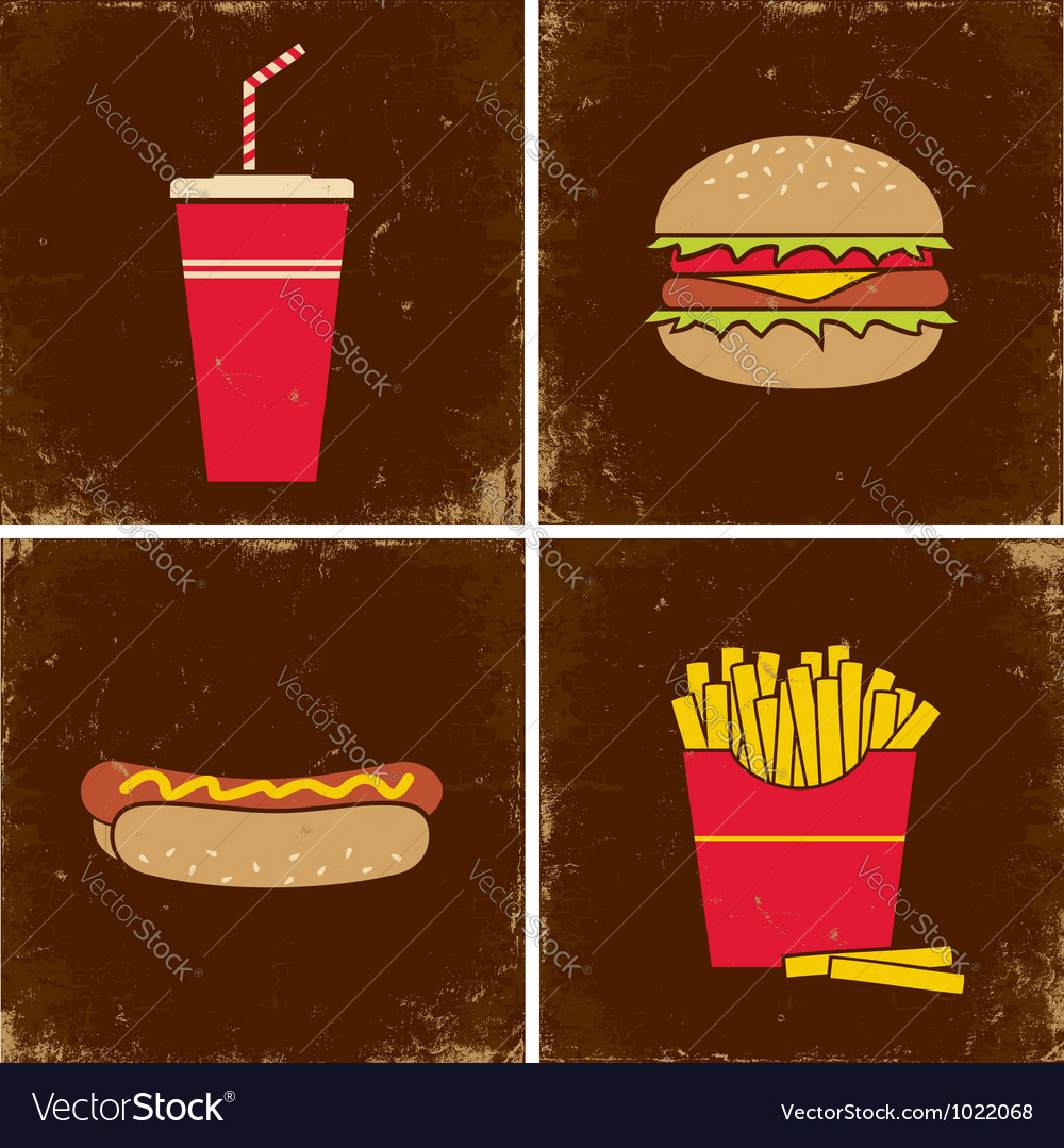 Four fast food vector | Price: 1 Credit (USD $1)