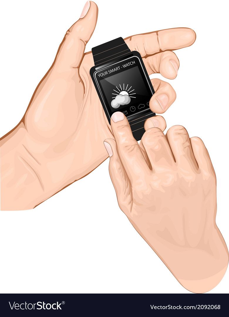 Hand hold smart-watch gesture tap vector | Price: 1 Credit (USD $1)