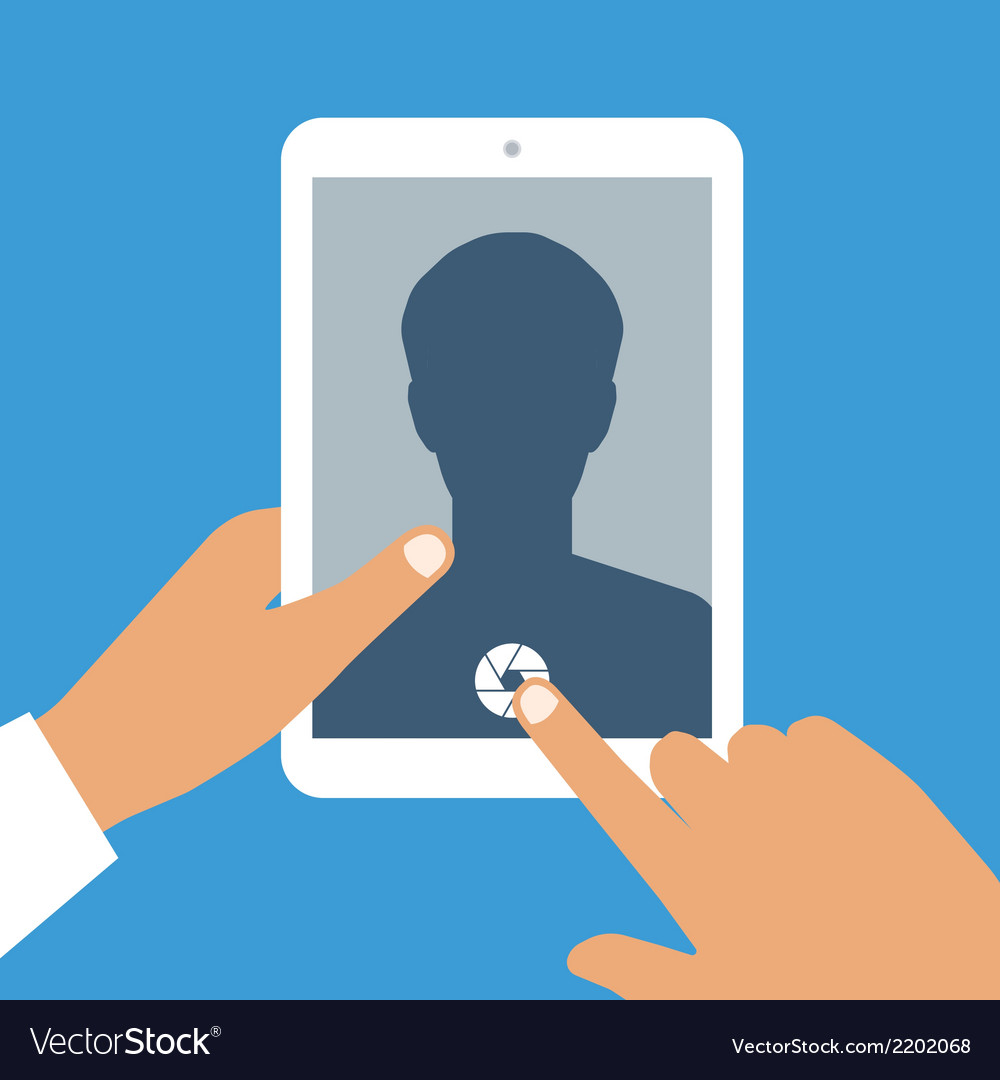 Human hand holds tablet pc with opened camera app vector | Price: 1 Credit (USD $1)