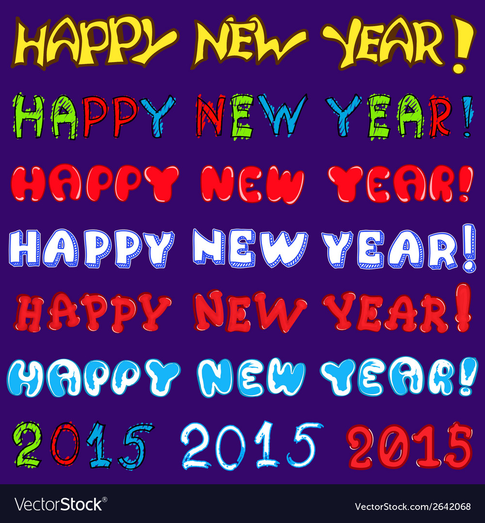 Inscription set - happy new year vector | Price: 1 Credit (USD $1)