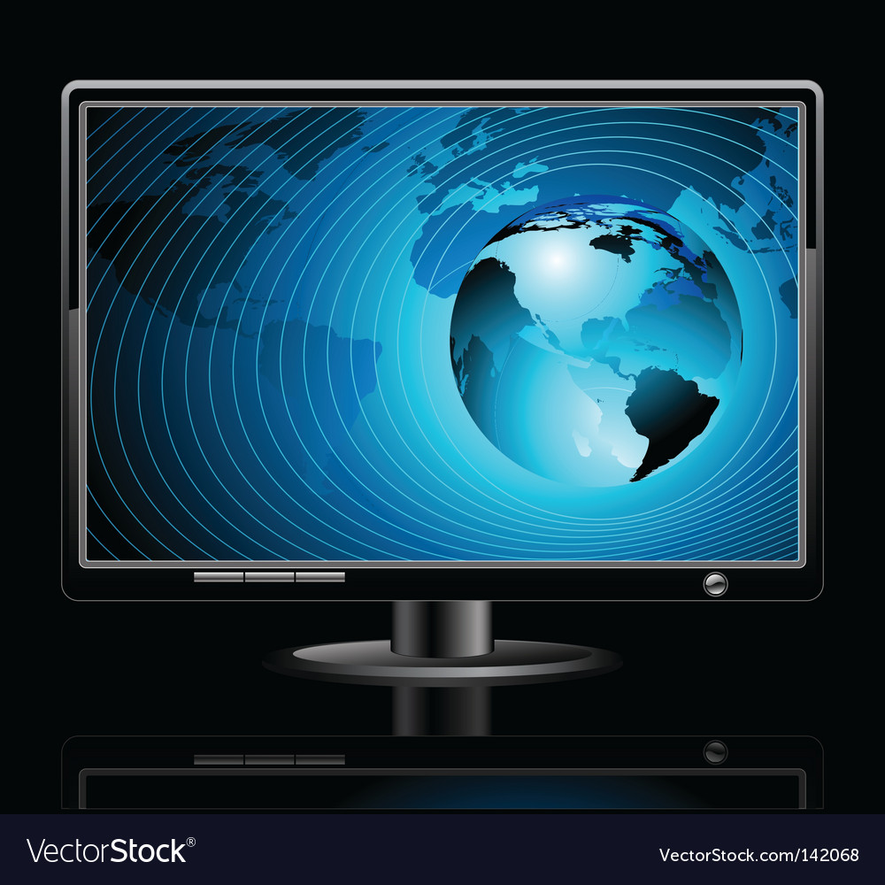 Lcd panel with world background vector | Price: 1 Credit (USD $1)