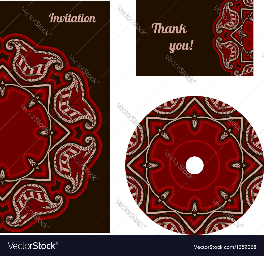 Oriental pattern card in red and black colors vector | Price: 1 Credit (USD $1)