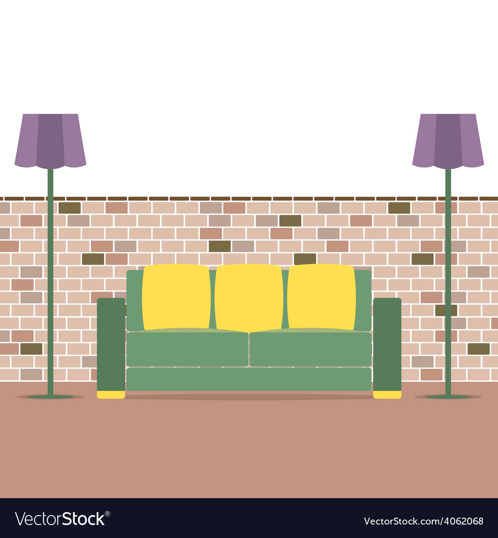Sofa with modern lamp on brick background vector | Price: 1 Credit (USD $1)