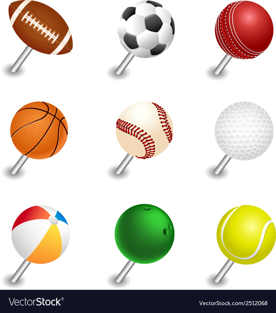Sports ball pointers push pin set vector | Price: 1 Credit (USD $1)