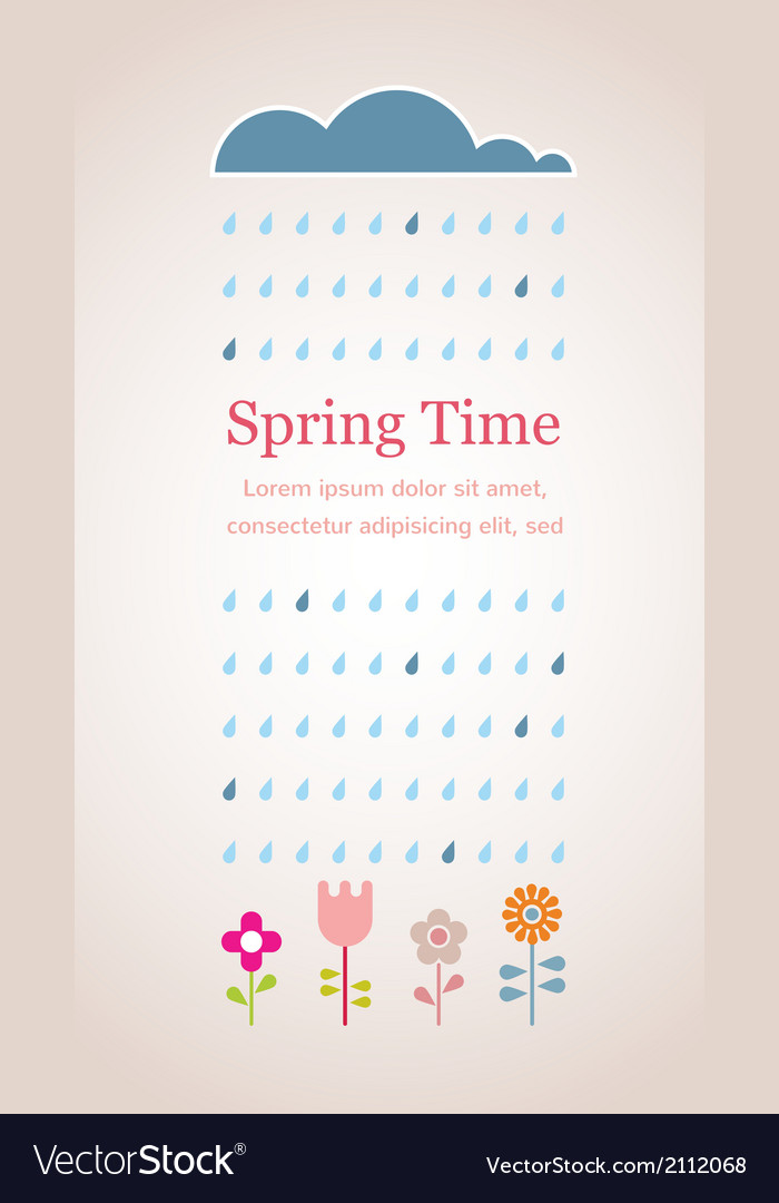 Spring raining cloud with abstract flowers vector | Price: 1 Credit (USD $1)