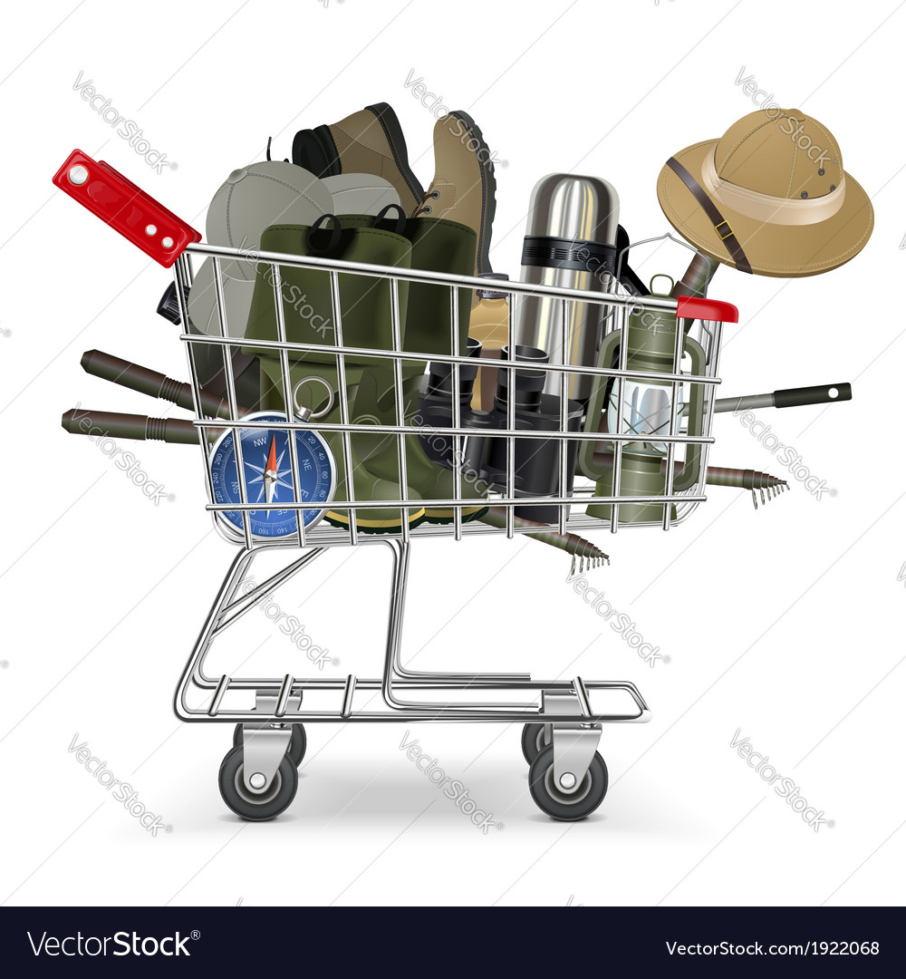 Trolley with fish tackle vector | Price: 1 Credit (USD $1)