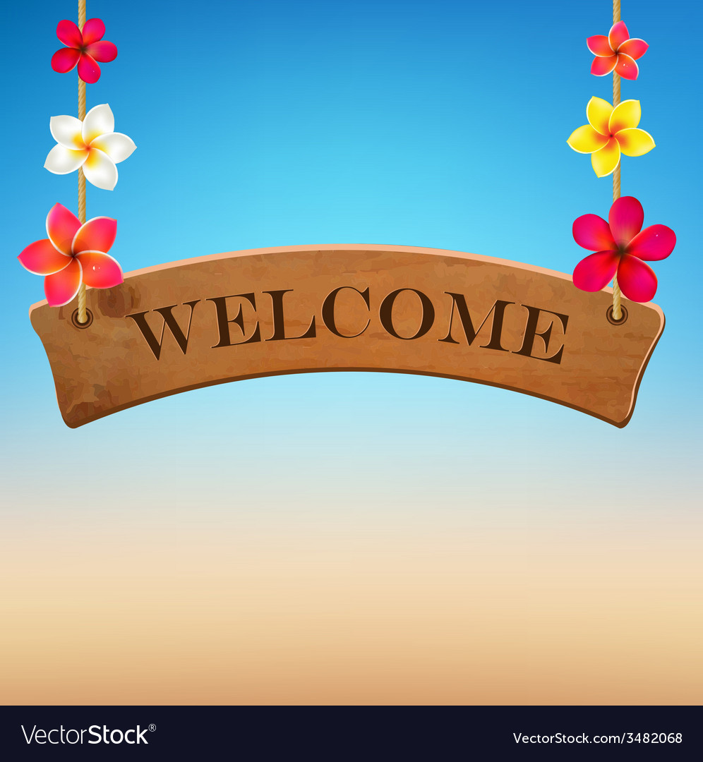 Wooden sign with frangipani vector | Price: 1 Credit (USD $1)