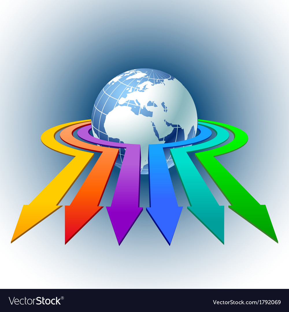Arrows around globe vector | Price: 1 Credit (USD $1)