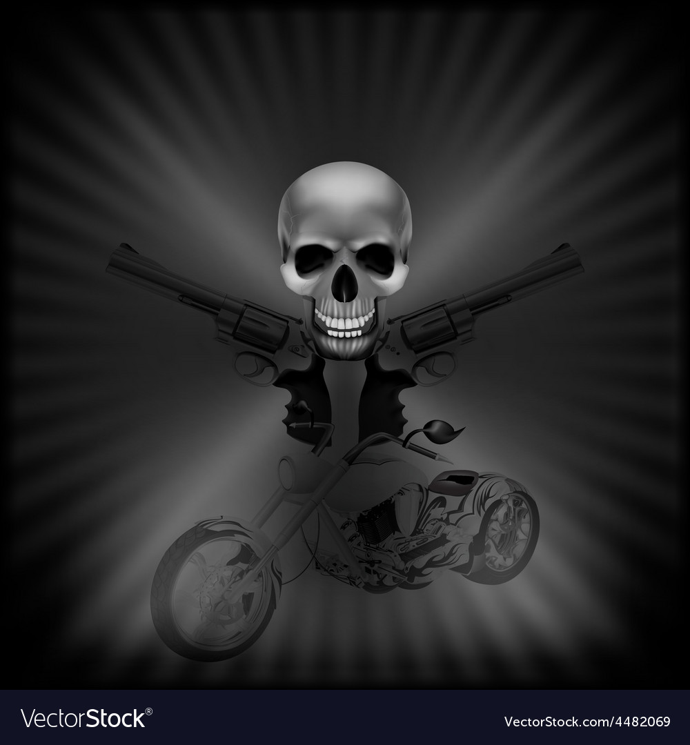 Background biker skull and revolvers vector | Price: 1 Credit (USD $1)