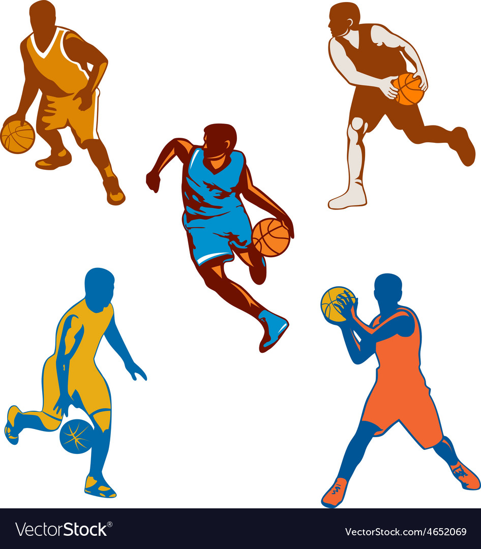 Basketball player dribbling ball collection vector   Price: 1 Credit (USD $1)