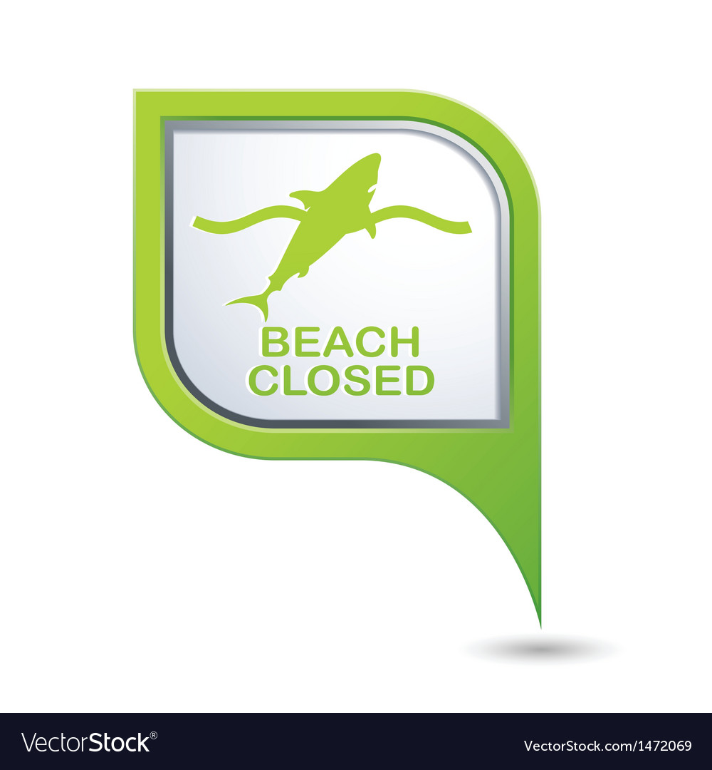 Beach closed shark sign on green map pointer vector | Price: 1 Credit (USD $1)