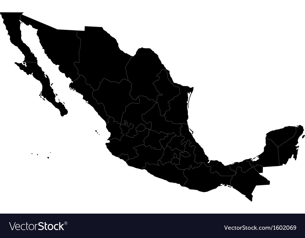 Black mexico map vector | Price: 1 Credit (USD $1)