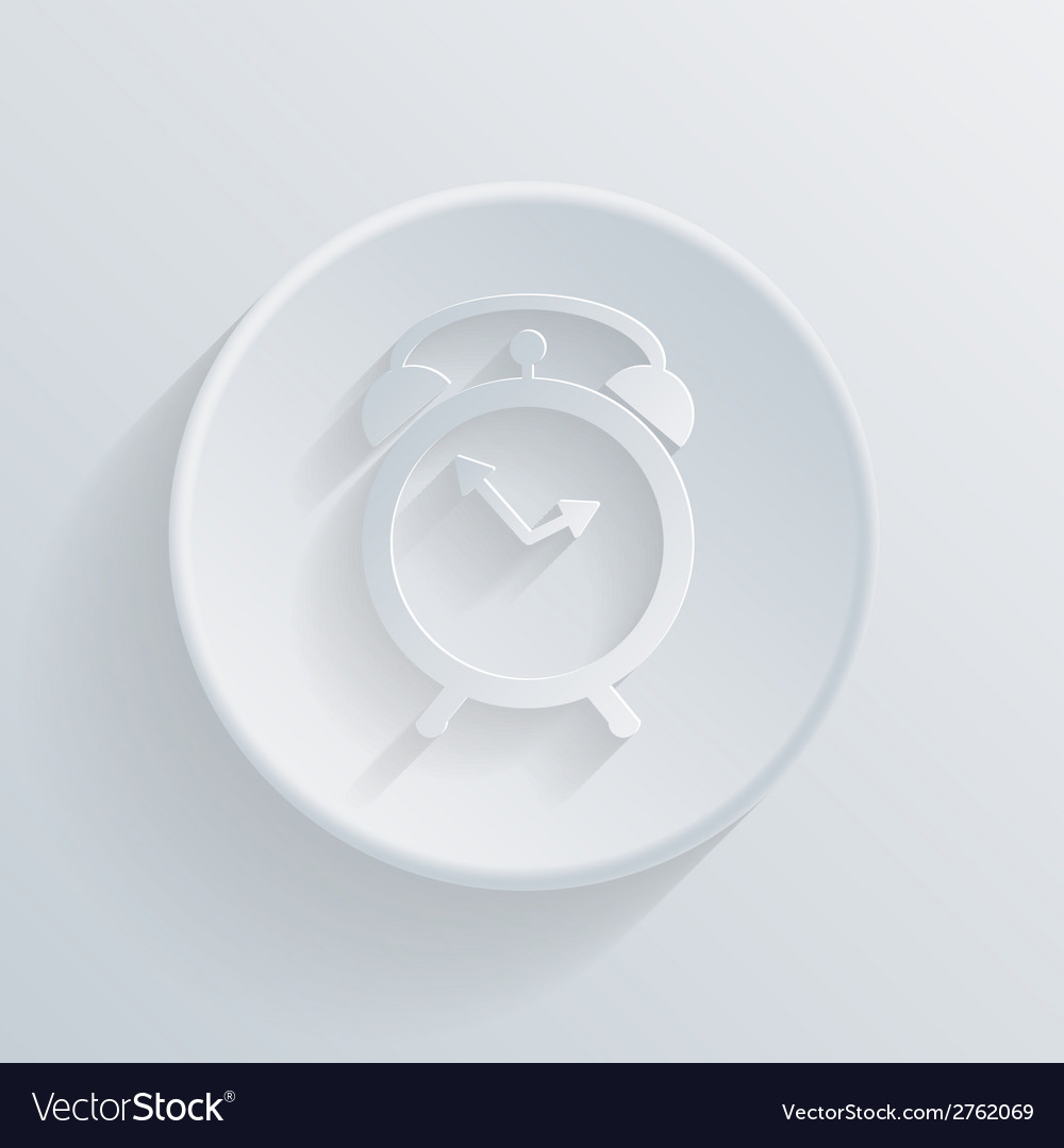 Circle icon with a shadow alarm clock vector | Price: 1 Credit (USD $1)