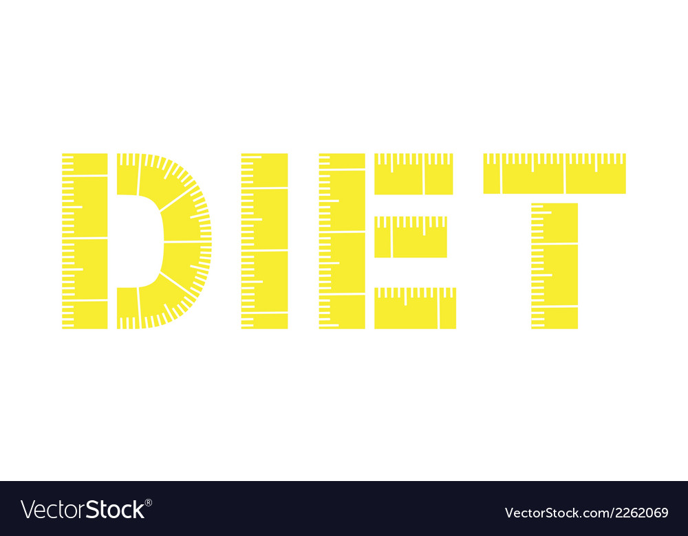 Diet word with yellow measuring tape vector | Price: 1 Credit (USD $1)