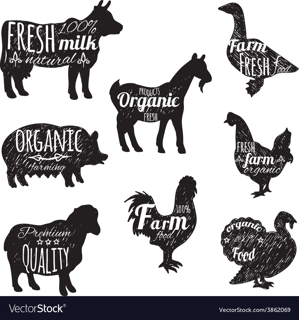 Farm animals set vector | Price: 1 Credit (USD $1)