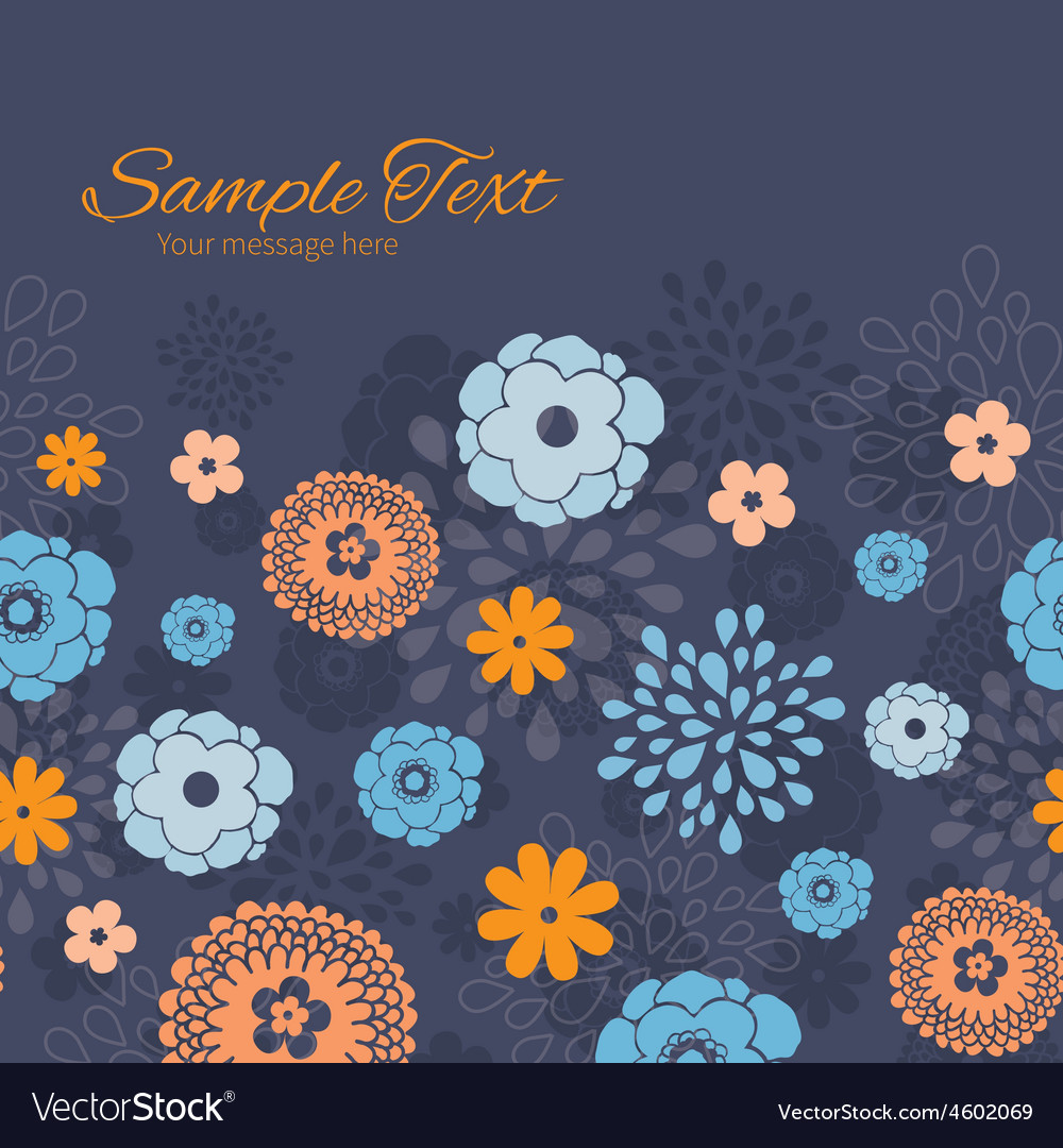 Golden and blue night flowers horizontal vector | Price: 1 Credit (USD $1)