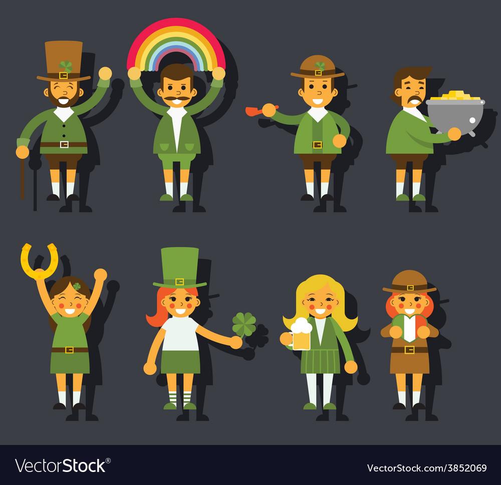Leprechauns ggnomes characters set celebration st vector | Price: 1 Credit (USD $1)