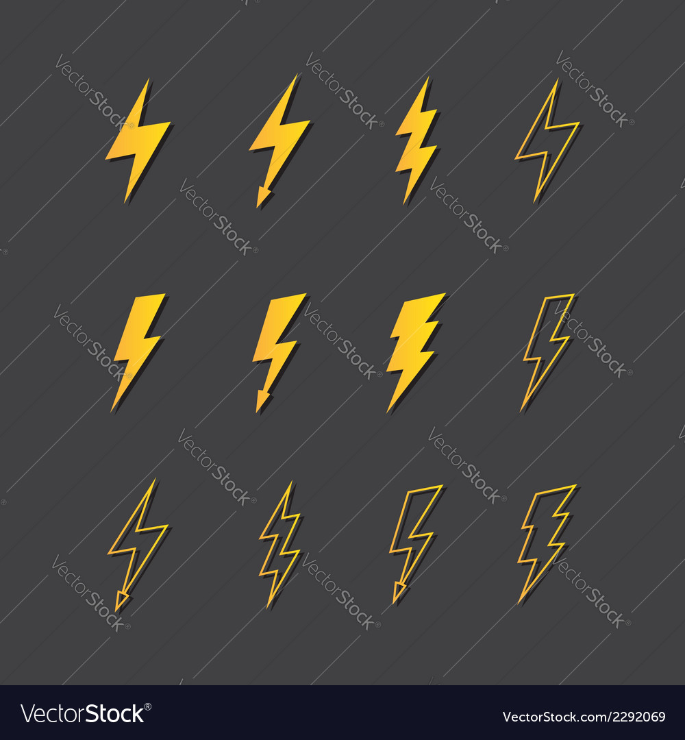 Lightning icon set vector | Price: 1 Credit (USD $1)