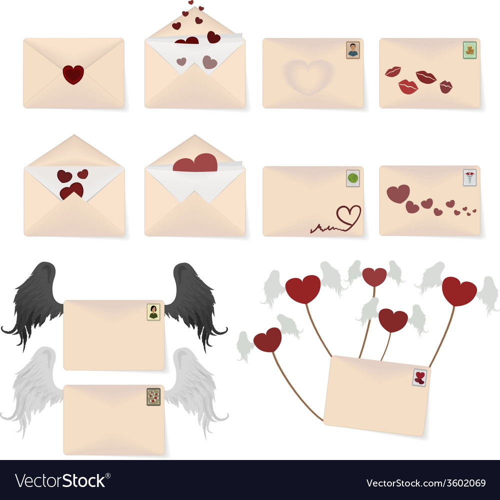 Love envelopes vector   Price: 1 Credit (USD $1)