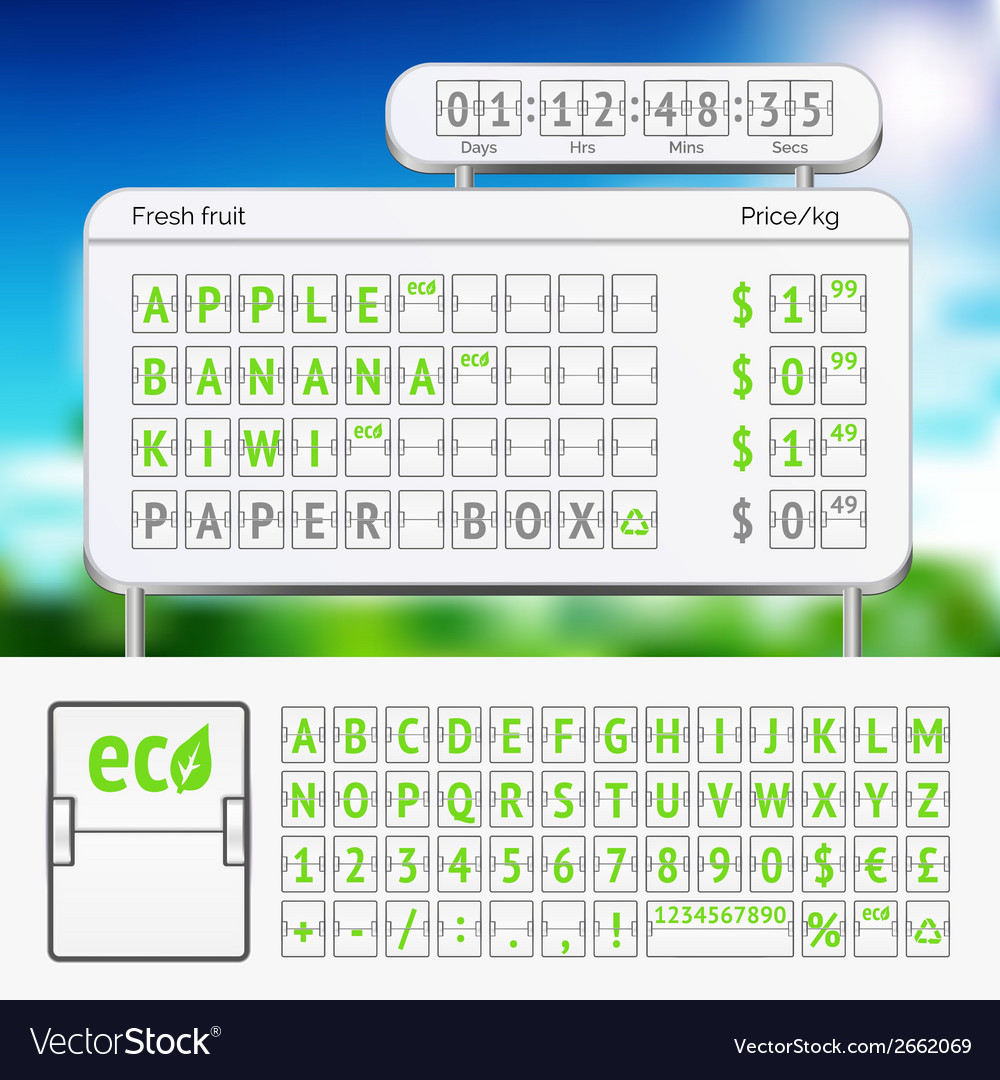 Mechanical scoreboard green alphabet with numbers vector | Price: 1 Credit (USD $1)