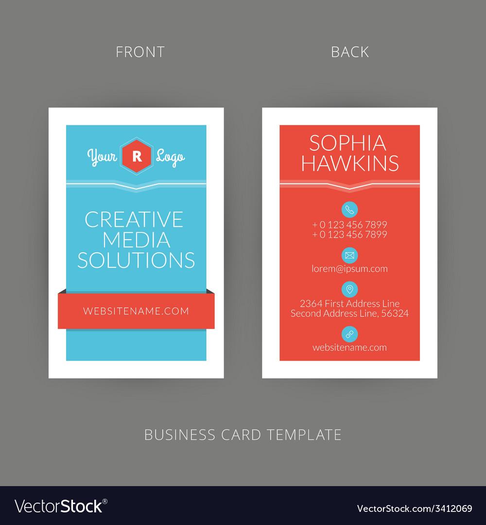 Modern creative business card template flat design vector | Price: 1 Credit (USD $1)