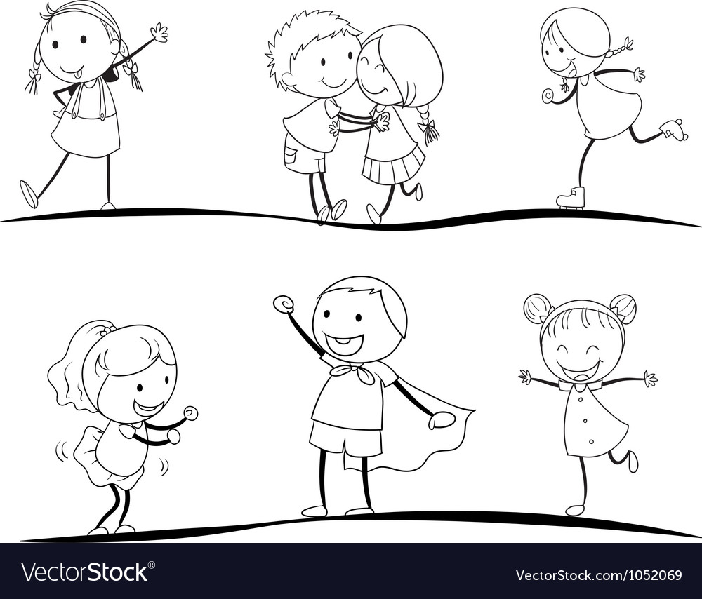 Scetches of kids vector | Price: 1 Credit (USD $1)