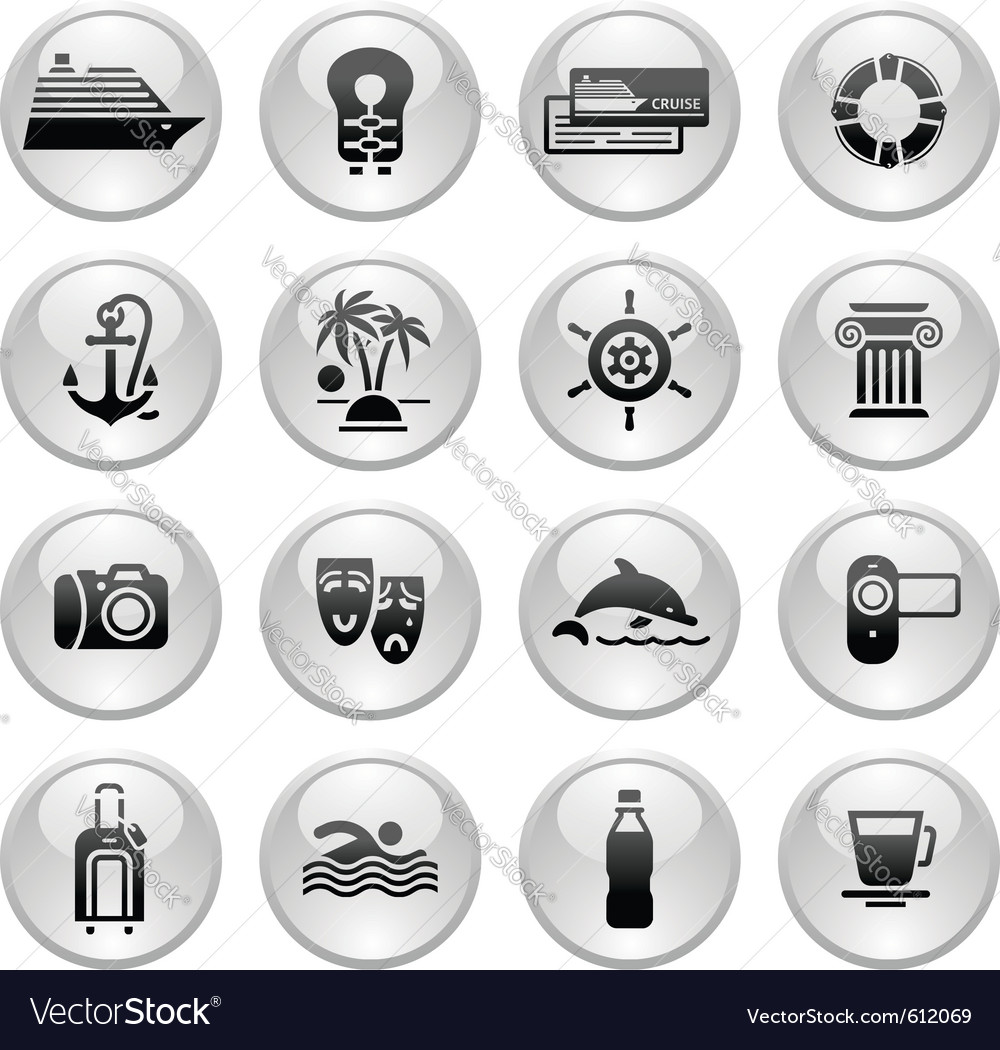 Travel vacation  recreation icons set vector | Price: 1 Credit (USD $1)