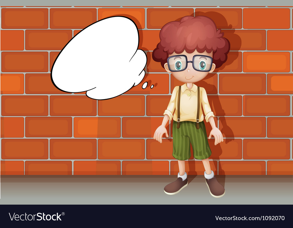 A boy and a speech bubble vector | Price: 1 Credit (USD $1)