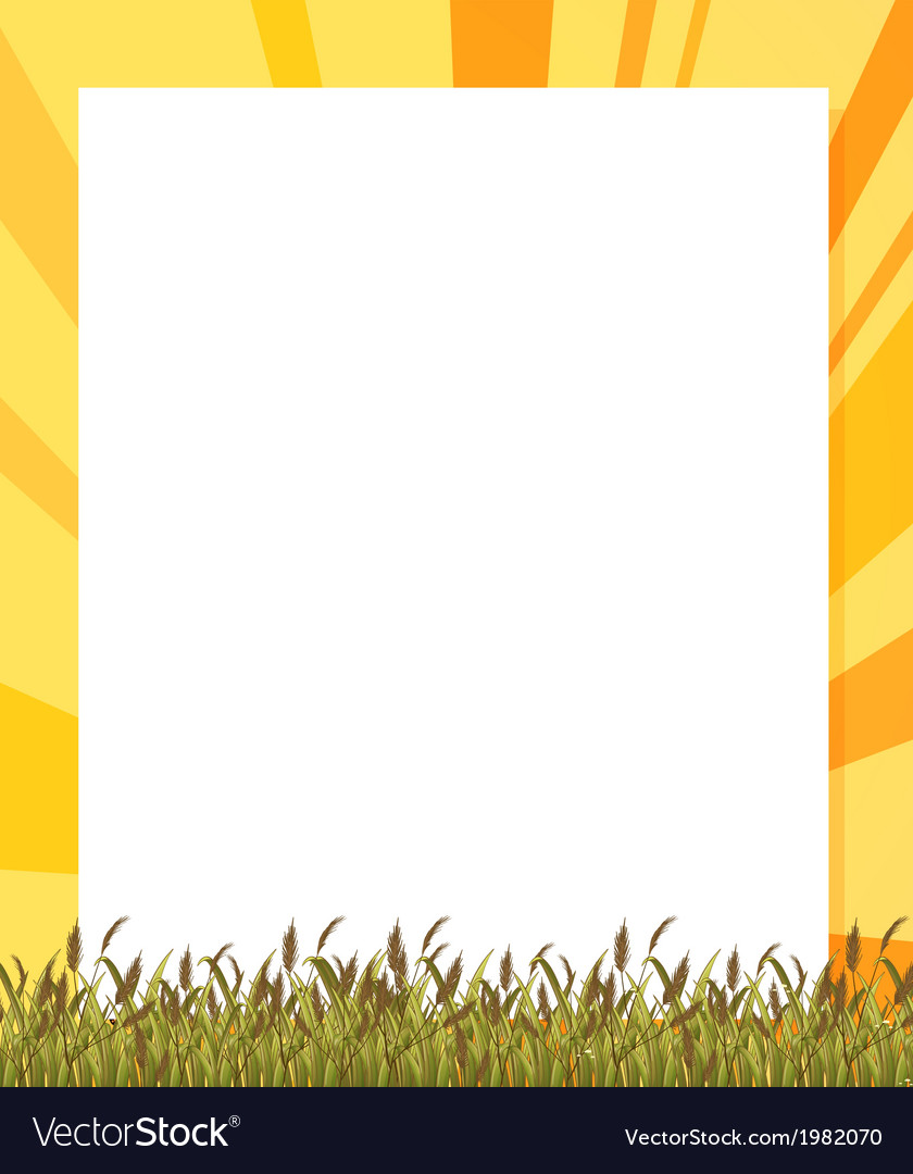 An empty paper template with plants at the bottom vector | Price: 1 Credit (USD $1)