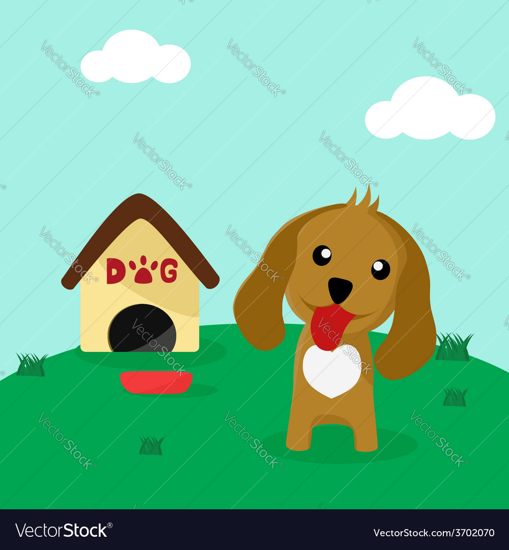 Cute dog in front of his home with a bowl of food vector | Price: 1 Credit (USD $1)