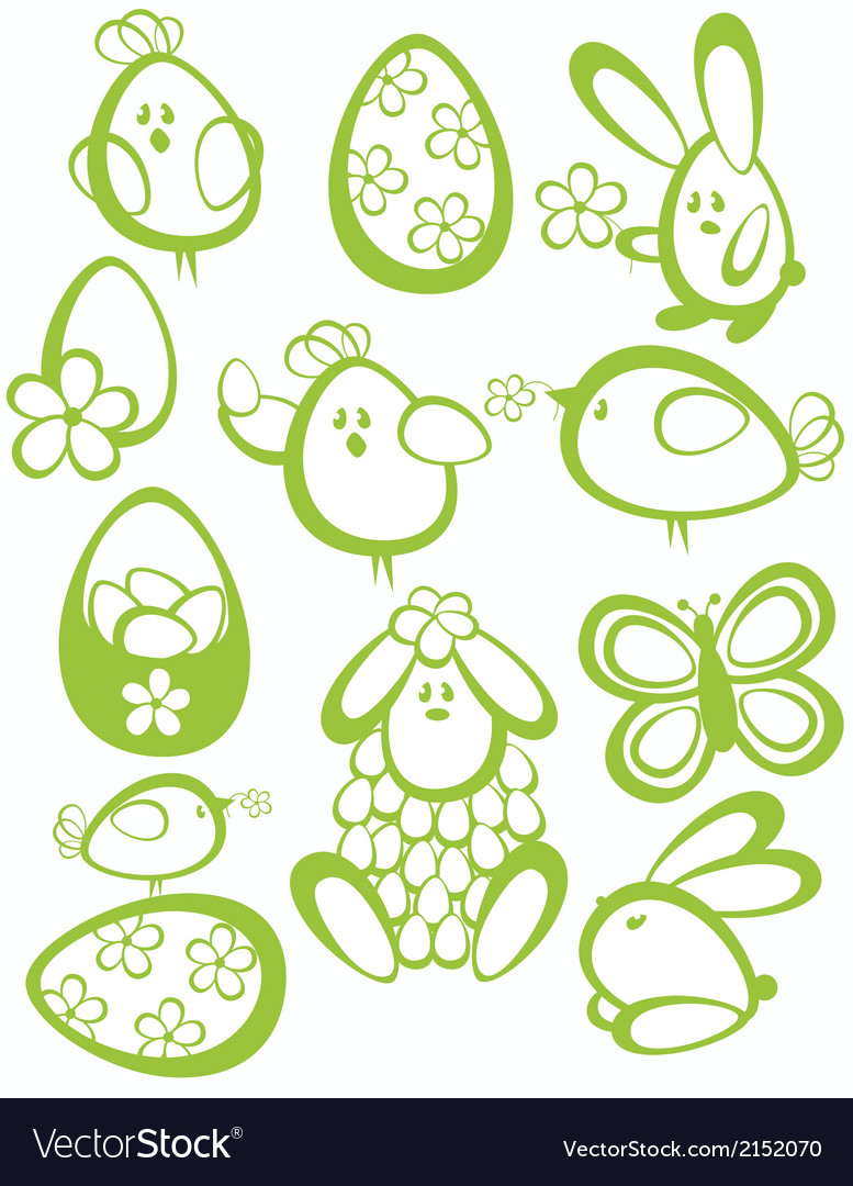 Funny easter characters vector | Price: 1 Credit (USD $1)