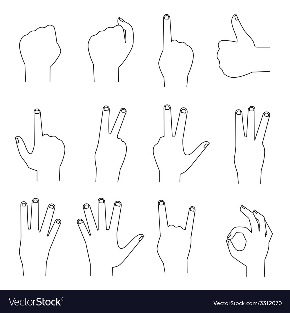 Hands icons outlines counting fingers ok gesture vector | Price: 1 Credit (USD $1)
