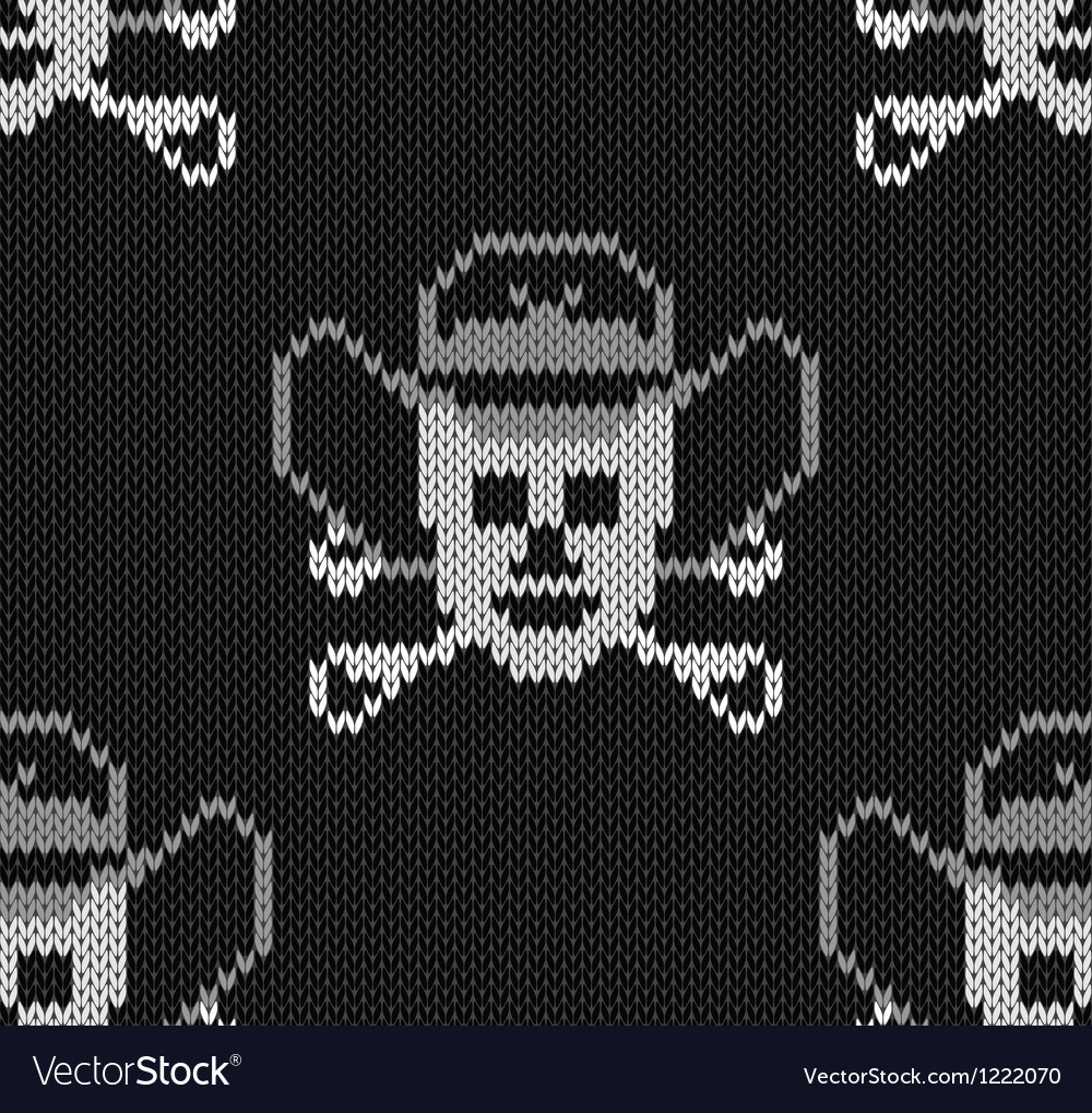 Knitted background with skulls in a cowboys hat vector   Price: 1 Credit (USD $1)