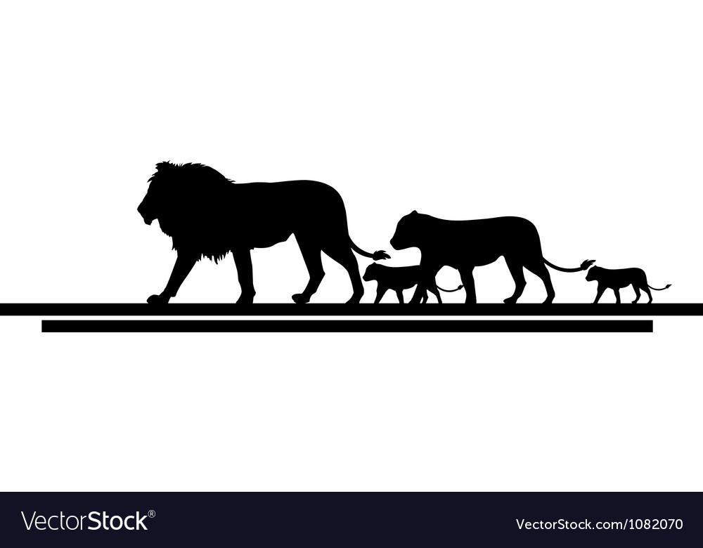 Lion family silhouette vector | Price: 1 Credit (USD $1)