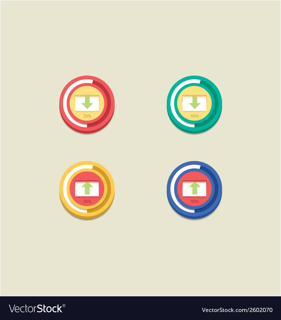 Round download and upload bar vector | Price: 1 Credit (USD $1)